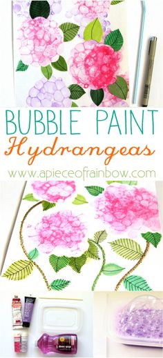 Bubble Paint Flower Hydrangeas So Easy and Fun! Make Bubble Paint Flower Hydrangeas + Bubble Paint Recipe! - A Piece Of RainbowSo Easy and Fun! Make Bubble Paint Flower Hydrangeas + Bubble Paint Recipe! - A Piece Of Rainbow Art Activities For Kids, Art For Kids, Kid Art, Preschool Art, Projects For Kids, Crafts For Kids, Fun Art Projects, Spring Art Projects, Bubble Painting