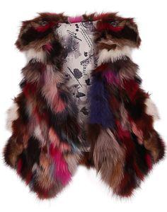 Brown Red Fox Fur Random Pattern Crop Gilet EUR€54.22