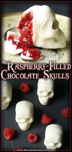 """Bloody"" Raspberry filled Chocolate Skulls 