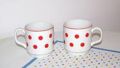 2 Cute Vintage polka dot  teacup/ coffee cup/mug/saucer Czechoslovakia polkadot ceramic dotted white red Soviet era (1970s) Bohemian pottery by VintagePolkaShop on Etsy