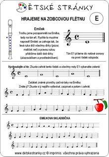 Škola hry na zobcovou flétnu zdarma - LEKCE E Sheet Music, Music Sheets