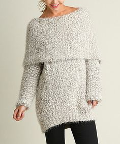Mocha Chunky-Knit Off-Shoulder Sweater #zulily #zulilyfinds