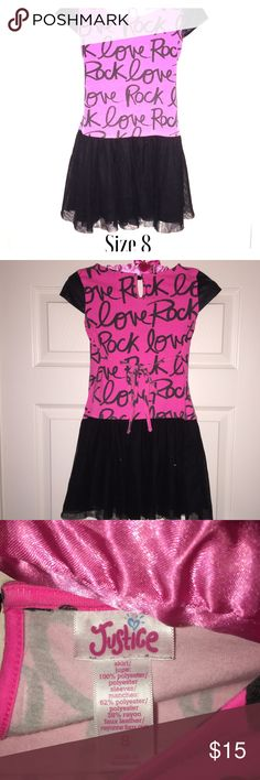 """☃️SALE (Final Price)! Justice Rock Dress Perfect for your little """"Rocker"""" girl. This dress is in very gently loved condition. Has a tie that ties in the back, faux leather cap sleeves and is finished off at the bottom with a sparkly black tulle. Justice Dresses Casual"""