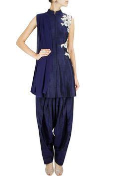 Blue embroidered short zipper anarkali with salwar BY RIDHI MEHRA. Shop now at www.perniaspopups... #designer #amazing #stunning #designer #love #perniaspopupshop #happyshopping #accessories #jewelery