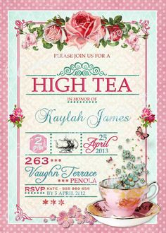 Tea Party Invitation High Tea  Bridal Shower by WestminsterPaperCo, $20.00