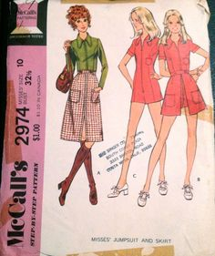 McCalls 5265 1970s Misses Zip Front Princess Seam jumpsuit and skirt in to lengths vintage sewing pattern by mbchills
