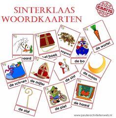Download gratis 18 Sinterklaas woordkaarten. www.peuteractiviteitenweb.nl