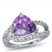 Royal Jewels Collection, Trillion Amethyst and White Topaz Sterling Silver Ring