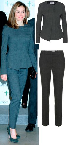 Letizia - Tapered pants with asymmetrical front jacket. Would like this better as separates.