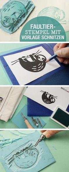 DIY-Anleitung für einen selbstgemachten Faultierstempel, Stempel selbermachen / diy tutorial: sloth stamp, crafting via DaWanda.com