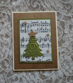Handmade Greeting Card: Christmas trees Joy sheet music