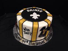 Saints Birthday Cake. Fondant sports themed cake. #birthdaycake #saints #fondant #yellowandblack