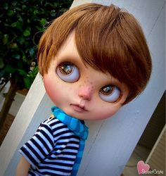 """Beau is cool, calm, & collected. Everything he does, he does it with style. He could look cool riding a giraffe, or chasing a run away ping pong ball. He's just """"COOL"""". He's so cool, he could slam a revolving door.  -Beau is a one of a kind Custom Boy Blythe doll. Beau is my 70th custom Blythe doll. -Beau is originally a TBL/fake Blythe doll. -Beau will come safely packaged and will have a face guard to protect her during shipping. -Beau will come with an outfit of my choice.  WORK DONE…"""