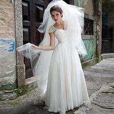 IIIusion  Chiffon  Boho  Wedding Dresses  With Detachable Train 2017  Vintage  Cheap Ruffle  Bridal Gowns  Vestidos  De  Noivas