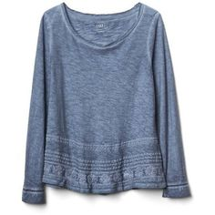 Gap Women Embroidered Long Sleeve Swing Top ($35) ❤ liked on Polyvore featuring tops, regular, true indigo, gap tops, blue top, embroidery top, swing top and trapeze top