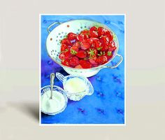 Strawberry fruit art  Print of a Watercolor by WatercolorByMuren, $30.00