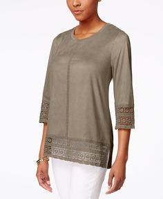 Style & Co. Faux Suede Crochet-Trim Top, Only at Macy's