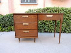 Mid Century Modern 4 Drawer Desk or Vanity with Walnut Finish by HouseCandyLA, $175.00