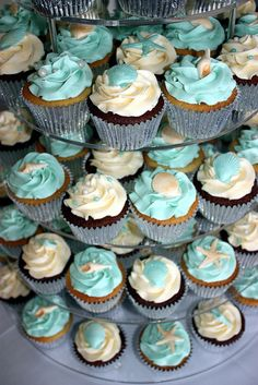 Seashell Wedding Cupcake Tower by ConsumedbyCake, via Flickr