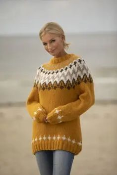 Fair Isle Knitting, Hand Knitting, Knitting Patterns, Knit Fashion, Fashion Outfits, Icelandic Sweaters, Nordic Sweater, Alpacas, Pullover