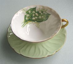 Shelley LILY OF THE VALLEY Oleander Teacup/Saucer | eBay