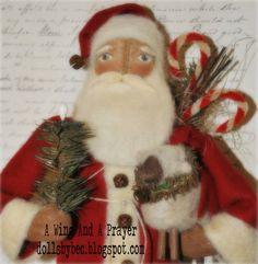 Primitive Santa  Folk Art OOAK Christmas Santa by AWINGANDAPRAYER,