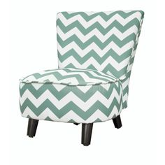 Kid's Chevron Polyester Wood Slipper Chair (Chevron Teal), Green (Polyester Blend)