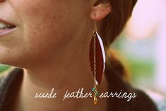 a bit of sunshine: make something monday :: suede feather earrings (with template)