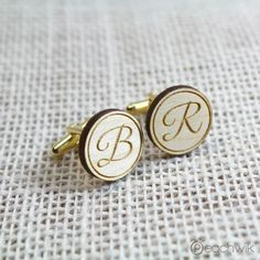 Fancy Initial Personalized Wooden Cufflinks By Peachwik