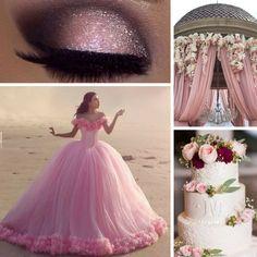 Quinceañera temática de Cenicienta rosa
