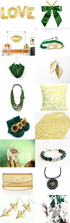 Shopping in Gold and Green!! by Patty on Etsy--Pinned+with+TreasuryPin.com