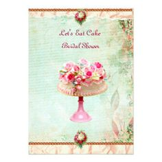 Let's Eat Cake Bridal Shower Invitation can be purchased on zazzle.com/pinkdaydream