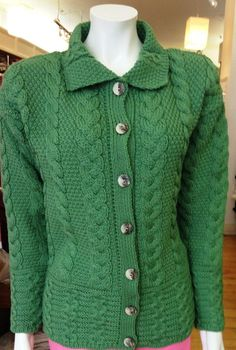 Modern Cardigan Knitting Patterns : Revere Button Collar Aran Cardigan - Parsnip Irish & family Pinterest