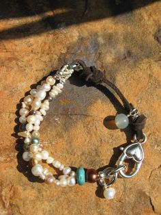 Pearlz, Pearlz, Pearlz - Suede and Pearl Mix - Boho Chic Bracelet Bohemian Jewelry, Pearl Jewelry, Beaded Jewelry, Jewelry Bracelets, Chain Bracelets, Diamond Jewelry, Custom Jewelry, Handmade Jewelry, Jewelry Accessories