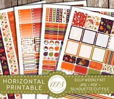 HORIZONTAL Erin Condren Printable Planner Stickers Weekly Kit Fall Planner Autumn Stickers Leaves Squirrel Hedgehog Colorful HS114