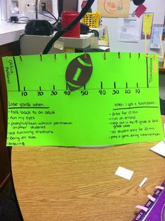 I have a student who has behavior issues (staying on task, not joining the group, pouting and whining, etc.) and I discovered that he loves playing football, so I created this football themed behavior chart. He gets so excited when he gets a touchdown! Behavior Rewards, Behavior Plans, Behavior Management, Classroom Management, Sports Theme Classroom, 2nd Grade Classroom, Classroom Posters, Future Classroom, Classroom Ideas