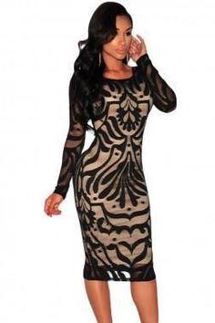 Plus Size Cream Black Lace Midi Dress