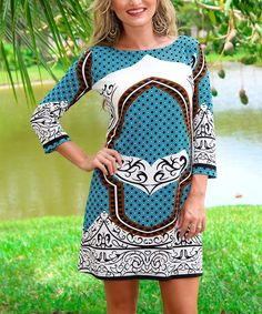 This Aqua Geo Shift Dress by Modern Touch is perfect! #zulilyfinds