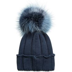 75e1fdb63c4 CATYA Oversized Murmansky Fur Pompom Ribbed Merino Hat in Navy Teal Fur Pom  Pom Hat
