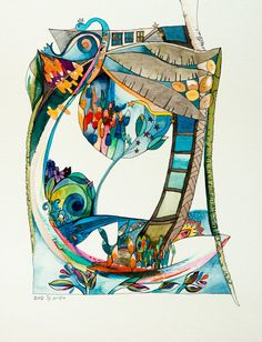 Ladder and Lyre,watercolor painting,original art,one of a kind,home decor,unique painting,artwork,hand painted,blue,turquiose,art on Etsy, $400.00