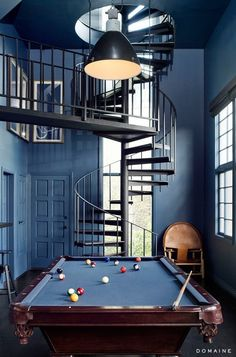 Beautiful Blue and Black color combo. #masculinedesign feel with soft touch. Spiral Staircase. Black. Blue. Denim. Billiards. Pool Table.
