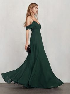 Friends don't make friends wear ugly dresses. The Lara Dress is an off-the-shoulder georgette gown with a V neckline, draped sleeves and tiny spaghetti straps. Fitted through the bodice and waist then the skirt goes full - ideal for twirling. Hook/zip closure in the back. Please note: this style runs long, so you can have it tailored to be the perfect length (if needed). Made from 100% viscose.