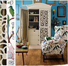I want that armoire! I need one for my living room to hide the TV! Eclectic Living Room, My Living Room, Living Spaces, Home Interior, Interior And Exterior, Interior Design, Eclectic Design, Modern Interior, Interior Styling