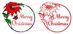 Poinsettia Frame - Merry Christmas - Digital Cutting File - Graphic Design - Instant Download - SVG, DXF, JPG
