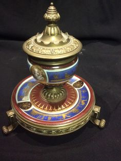 French Porcelain And Bronze Inkwell & Paperweight Set Antique
