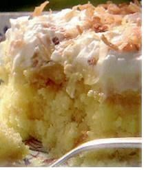 Pineapple Puddin Cake  1 yellow cake mix, 2/3 cup sugar, 1 (20 oz.) can crushed pineapple, 1 (6 oz.) package vanilla pudding mix  1 tub non-dairy whipped topping  flaked or shredded coconut  make cake in 9x13 inch cake pan  Put holes into the top of the cake  Mix pineapple & sugar then pour over cake & pour prepared pudding over cake. Chill in refrigerator. Top with whipped topping & coconut.  Keep refrigerated.  By: A Country Momma's Hands
