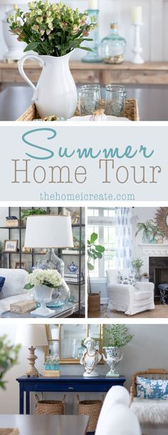 A beautiful summer home tour with blue and white color palette. Relaxed home decor, fresh flowers, and plenty of inspiration for light bright summer home decor!
