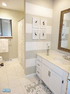 bathroom. Love the striped accent wall. #stripes #bathroom