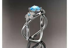14kt white gold diamond leaf and vine birthstone ring ADLR90 Blue Topaz - December's Birthstone. nature inspired jewelry - TheWeddingMile.com