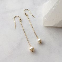 Perfect Pearl Chain Drop Earrings // 14K Gold Filled